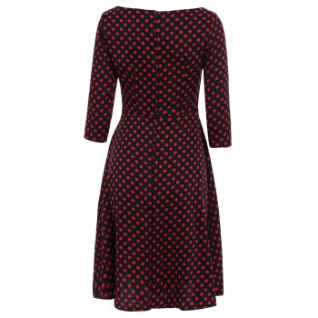 Vintage Polka Dot Print Slash Neck Bowknot Design 3/4 Sleeve Dress For Women - 2XL 2XL