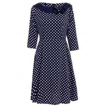 Vintage Polka Dot Print Slash Neck Bowknot Design 3/4 Sleeve Dress For Women - PURPLISH BLUE S