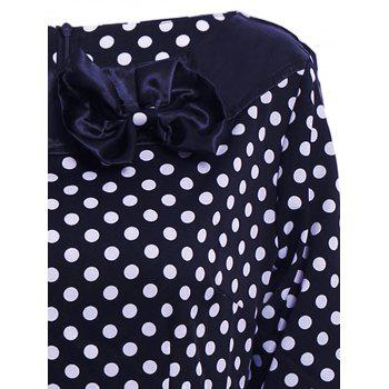Vintage Polka Dot Print Slash Neck Bowknot Design 3/4 Sleeve Dress For Women - S S