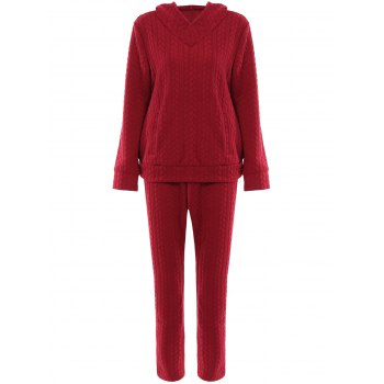 Brief Solid Color Hooded Long Sleeve Hoodie and Pants Twinset For Women