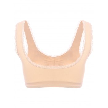 Graceful V Neck Push Up Solid Color Laciness Women's Moulded Sports Bra - M M