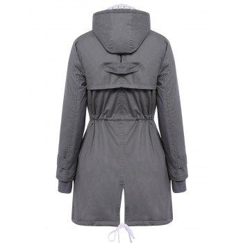 Women's Chic Long Sleeve Solid Color Pocket Coat - DEEP GRAY L