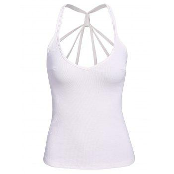 Sexy Women's Spaghetti Strap White Open Back Tank Top