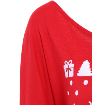 Skew Neck Elk and Letter Printed Christmas Sweatshirt - RED XL