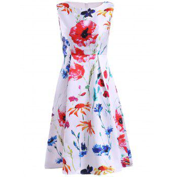 Simple Style Jewel Neck Sleeveless Floral Print Dress For Women