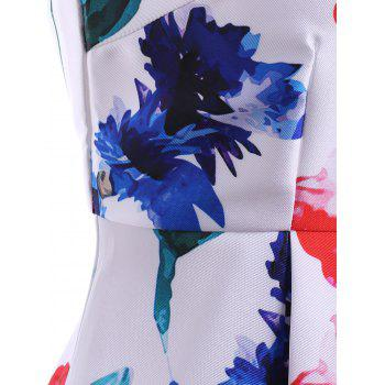 Simple Style Jewel Neck Sleeveless Floral Print Dress For Women - M M