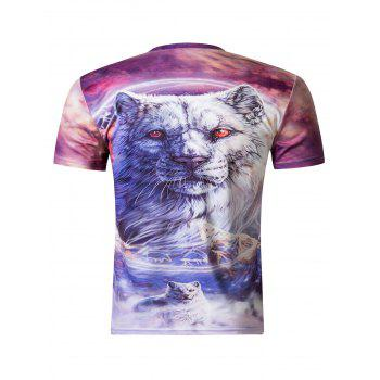 Stylish 3D Round Neck White Tiger Print Short Sleeve T-Shirt For Men - COLORMIX 2XL