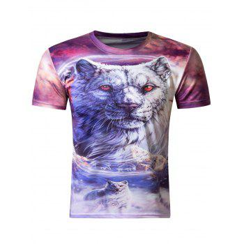 Stylish 3D Round Neck White Tiger Print Short Sleeve T-Shirt For Men