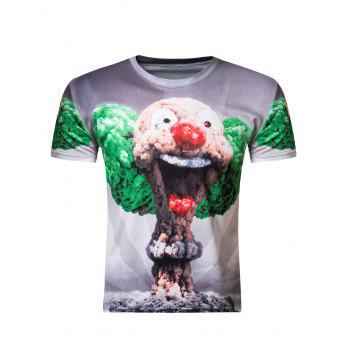 3D Round Neck Clown Mushroom Cloud Print Short Sleeve T-Shirt For Men