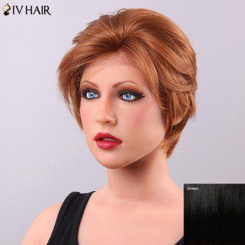 Fluffy Siv Hair Inclined Bang Women's Lace Front Human Hair Wig - BLACK BLACK