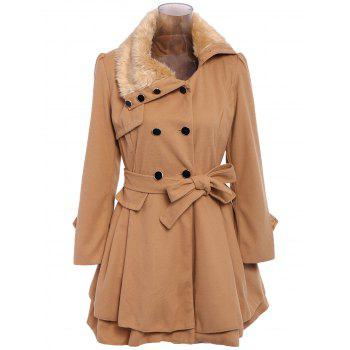 Stylish Turn-Down Neck Long Sleeve Spliced Lace-Up Button Design Women's Coat