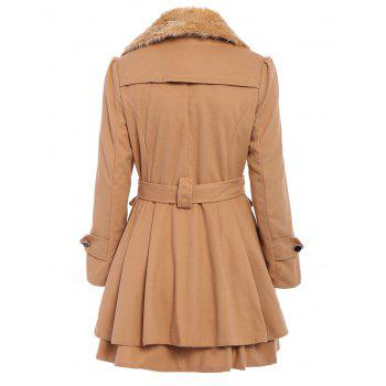 Stylish Turn-Down Neck Long Sleeve Spliced Lace-Up Button Design Women's Coat - CAMEL XL
