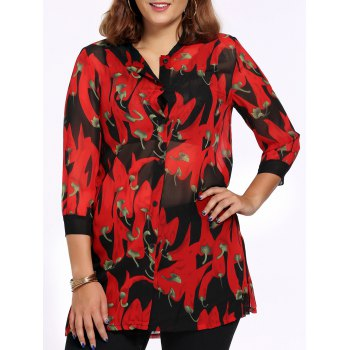 Chic Plus Size Side Slit Pepper Print Women's Shirt - RED RED
