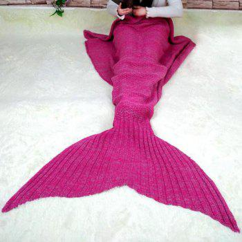 Chic Quality Comfortable Solid Color Handmade Wool Knitted Mermaid Design Throw Blanket - ROSE L