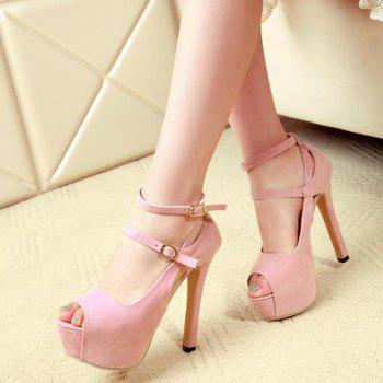 Party Suede and Stiletto Heel Design Women's Peep Toe Shoes - PINK PINK