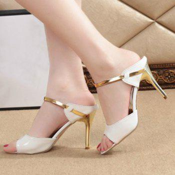 Trendy Stiletto Heel and Peep Toe Design Women's Slippers - 37 37