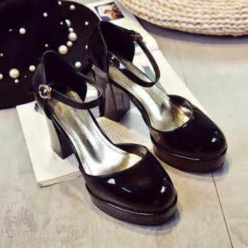 Graceful Chunky Heel and Ankle Strap Design Women's Pumps - BLACK 39