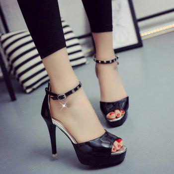 Stylish Peep Toe and Ankle Strap Design Women's Sandals - BLACK 36