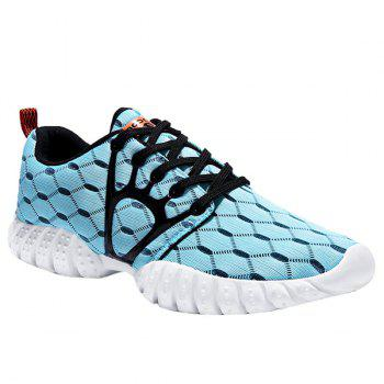 Trendy Breathable and Hit Colour Design Men's Athletic Shoes - CYAN CYAN