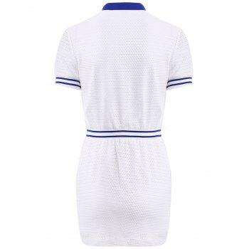 Casual Women's Turn-Down Collar Short Sleeves Openwork Dress - WHITE L