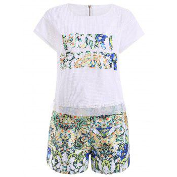 Stylish Women's Jewel Neck Openwork Top and Print Shorts Set - WHITE L