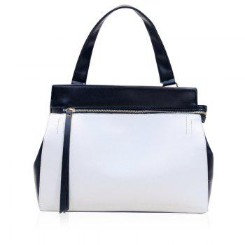 Buy Leisure Color Block Zip Design Women's Tote Bag WHITE