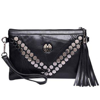 Fashionable Metal and Tassel Design Women's Clutch Bag - BLACK BLACK