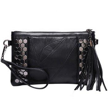Casual Metal and Stitching Design Women's Clutch Bag - BLACK BLACK