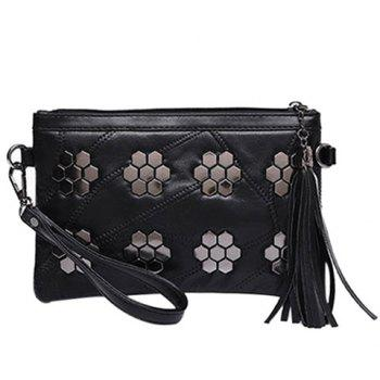 Fashionable Metal and Stitching Design Women's Clutch Bag