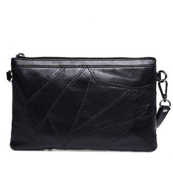 Fashionable Metal and Stitching Design Women's Clutch Bag -  BLACK