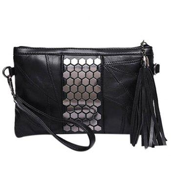 Trendy Black and Metal Design Women's Clutch Bag