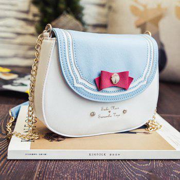 Buy Sweet Color Block Bow Design Women's Crossbody Bag LIGHT BLUE