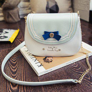 Sweet Color Block and Bow Design Women's Crossbody Bag
