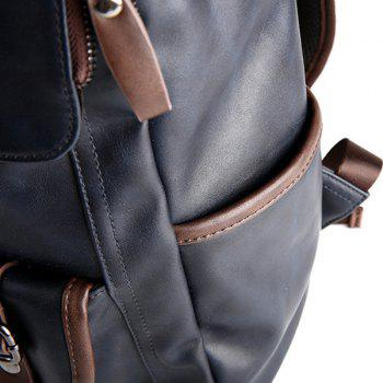 Stylish Zippers and Hit Colour Design Men's Backpack - DEEP BLUE