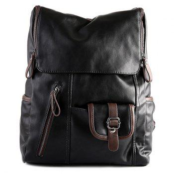 Stylish Zippers and Hit Colour Design Men's Backpack - BLACK BLACK