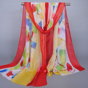 Chic Bright Color Splash-Ink Pattern Sunscreen Women's Shawl Wrap Chiffon Scarf