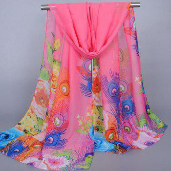Chic Flowers Peacock Feathers Pattern Sunscreen Women's Shawl Wrap Chiffon Scarf