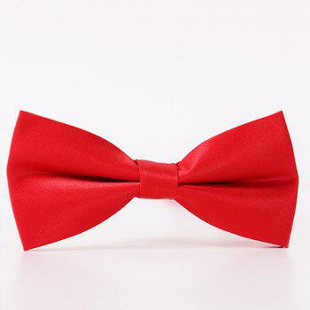 Buy Classical Solid Color Formal Tuxedo Double Deck Banded Silky Bow Tie RED