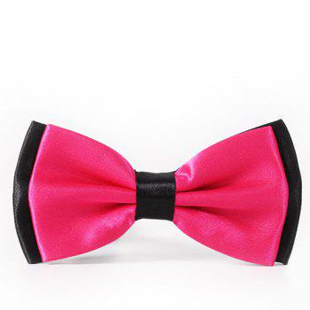 Simple Formal Tuxedo Double Deck Bicolor Banded Satin Bow Tie