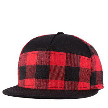 Stylish Tartan Pattern Black and Red Street Snap Style Baseball Cap