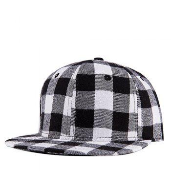 Stylish Black and White Tartan Pattern Street Snap Style Baseball Cap