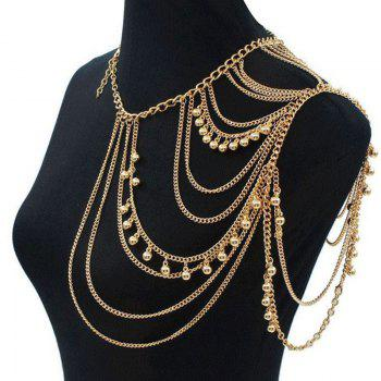 Gorgeous Golden Multilayer Tassel Shoulder Chain Body Chain For Women - GOLDEN