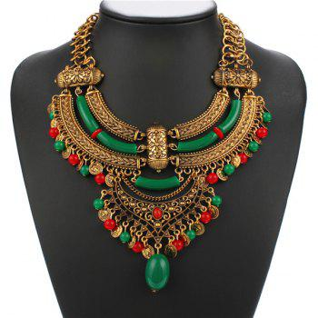 Ethnic Style Coin Faux Gem Geometric Hollow Out Resin Necklace For Women