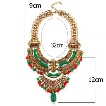 Ethnic Style Coin Faux Gem Geometric Hollow Out Resin Necklace For Women - GOLDEN