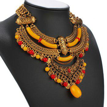 Bohemia Gold Plated Carved Flower Coin Bead Necklace - GOLDEN