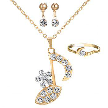 Rhinestone Music Note Necklace Ring and Earrings
