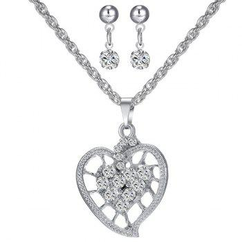Rhinestone Hollowed Heart Necklace and Earrings