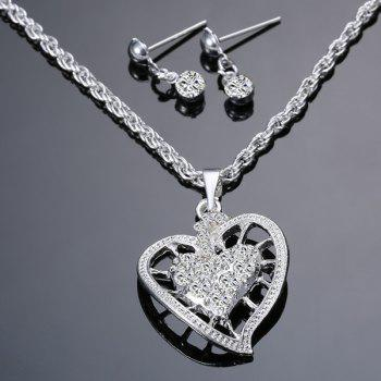 Rhinestone Hollowed Heart Necklace and Earrings - SILVER