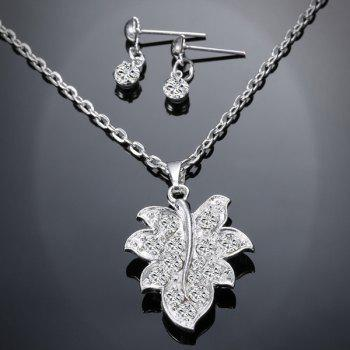 Rhinestone Maple Leaf Necklace and Earrings - SILVER