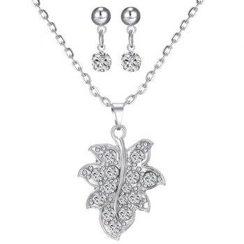 Rhinestone Maple Leaf Necklace and Earrings
